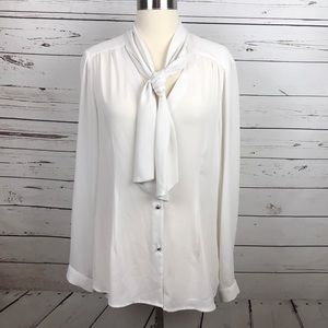 Tahaari Blouse with Neck Tie White